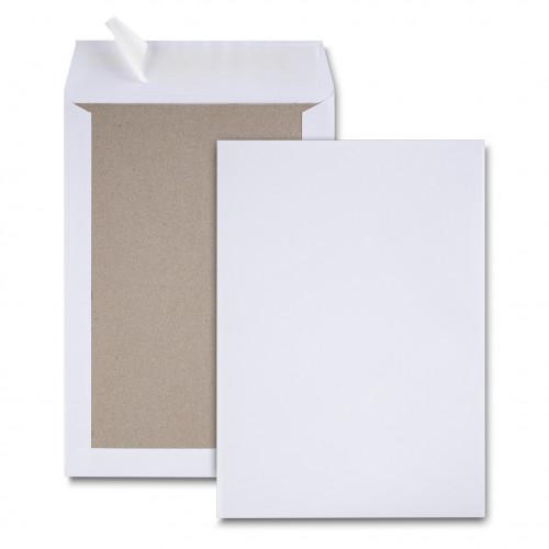 Paquet de 25 pochettes dos carton velin blanc C4 229x324 bande de protection